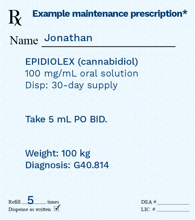 Epidiolex Cannabidiol Prescription Example - Maintenance